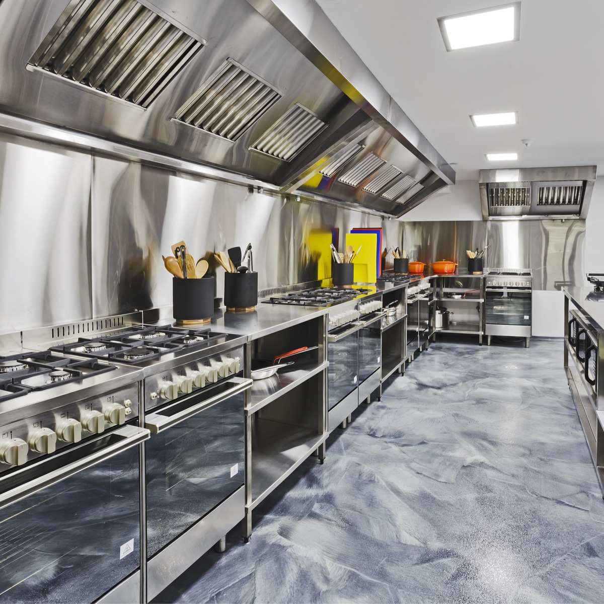 Very clean steel commercial kitchen